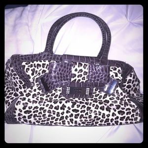 Guess leather cheetah print purse